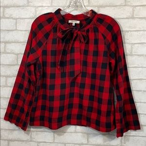 Madewell buffalo check tie neck popover size XS